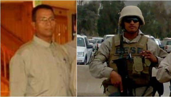 De izquierda a derecha: Vladimir Flores y Victor Huamaní, dos peruanos que trabajaron como agentes de seguridad privada para contratistas estadounidenses en Herat y Kabul, respectivamente, ambas zonas ubicadas en Afganistán. (Foto: Archivo personal enviado a El Comercio)