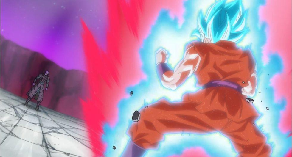"""""""Dragon Ball Super"""". Gokú vs. Hit, combate donde Gokú combinó el kaio ken con el modo súper saiya azul. (Fuente: Toei Animation)"""