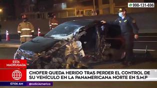 SMP: chofer resultó herido tras impactar contra muro de contención de la Panamericana Norte