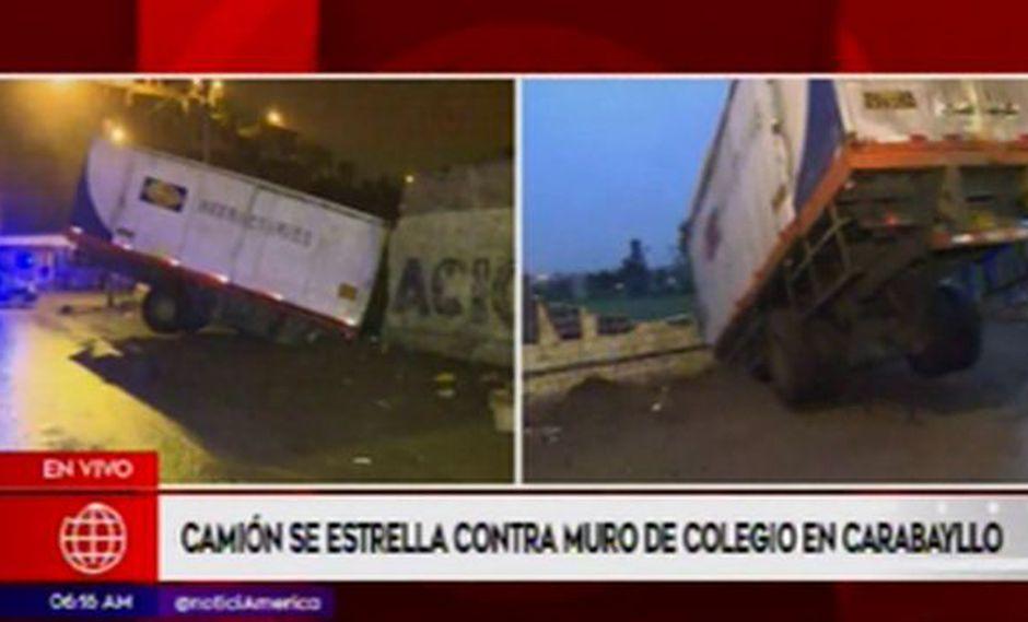 Al parecer una falla mecánica habría provocado que el chofer pierda el control del camión. (Captura: América Noticias)