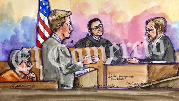 Ilustración de la presentación de Alejandro Toledo este miércoles ante el tribunal. (Ilustración: Vicki Behringer en exclusiva para El Comercio)