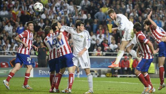 Sergio Ramos anotó el gol del 1-1 y forzó la prórroga en la final ante Atlético de Madrid. (Foto: AFP)