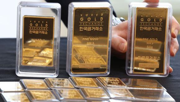 Los futuros del oro en Estados Unidos cedían un 1,1% a US$1.858,20. (Foto: EFE)