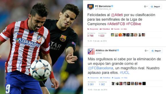 Buen ejemplo: Barcelona y Atlético se felicitan vía Twitter