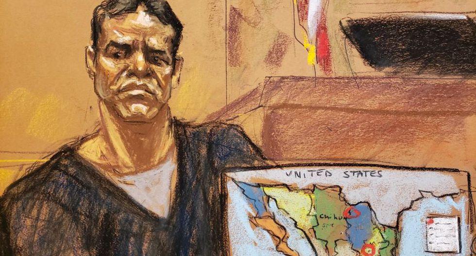Reproducción fotográfica de un dibujo donde aparece Vicente Zambada, hijo de Ismael 'El Mayo' Zambada y uno de los testigos principales en el juicio por narcotráfico contra Joaquín 'El Chapo' Guzmán en Estados Unidos. (Foto: EFE)