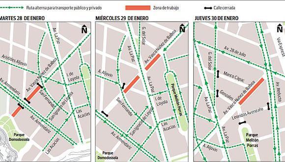 Obras en Miraflores: mire los desvíos por obras en dos calles