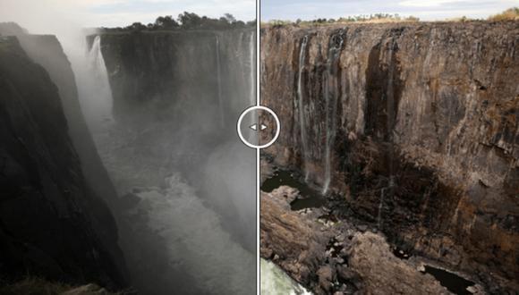 La profundidad de la cima fue esculpida por la acción del agua a lo largo de una zona de fracturas naturales en la roca volcánica que conforma el paisaje en esta región en el sur de África. (Foto: Reuters).