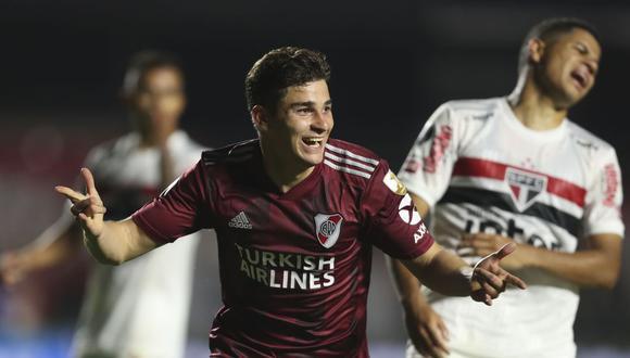 Julián Álvarez dio la asistencia en el primer gol, y anotó el segundo gol de River Plate ante Sao Paulo. (Foto: AFP)