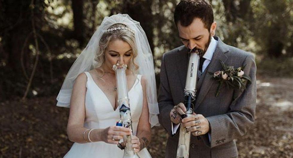 Además del tradicional vestido y terno, los novios se lucieron con sus pipas en las manos. (Foto: Instagram)
