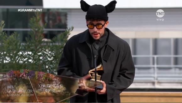 Bad Bunny ganó en la categoría Mejor álbum de pop latino en los Premios Grammy 2021. (Foto: Captura TNT)