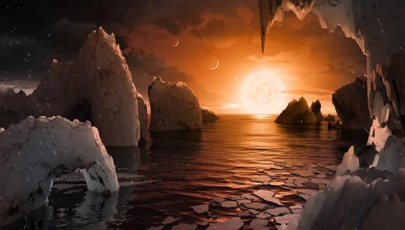 Esta es una representación gráfica de cómo se vería un ocaso desde el planeta Trappist-1f, uno de los que se encuentra en la zona habitable, según la NASA. (Foto: Reuters)