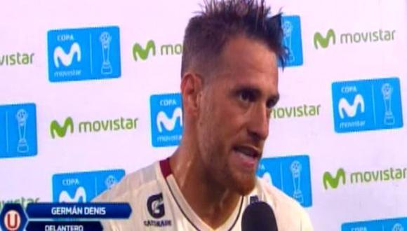 Germán Denis le dio la victoria a Universitario sobre Sport Huancayo. (Captura: Gol Perú)