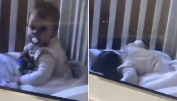 Una bebé divirtió bastante en Internet al fingir dormir luego de darse cuenta que era vigilada por una cámara de seguridad. (Foto: @emmahore / TikTok)