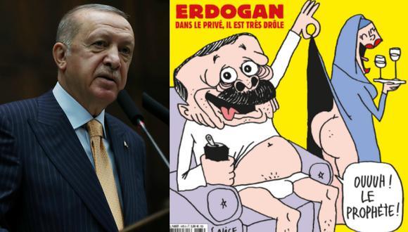 Imagen del presidente de Turquía, Recep Tayyip Erdogan, y la portada de la revista francesa Charlie Hebdo. (Murat Cetinmuhurdar/Presidential Press Office/Reuters - Charlie Hebdo/Twitter).