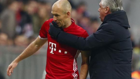 Arjen Robben tuvo polémicas declaraciones acerca de Carlo Ancelotti después de la caída del Bayern Múnich frente al PSG. (Foto: Reuters)