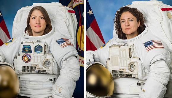 Christina Koch (D) y Jessica Meir se convirtieron en las primeras en realizar una caminata sin la compañía de un varón. (Foto: HO / NASA / AFP)