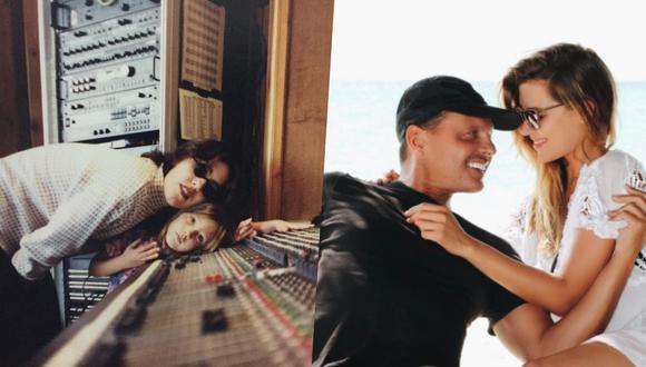 """Izquierda: Stephanie Salas y su hija Michelle en 1995 durante las grabaciones del disco de la primera  """"La raza humana"""". (Derecha) Michelle y Luis Miguel en una foto de 2017."""