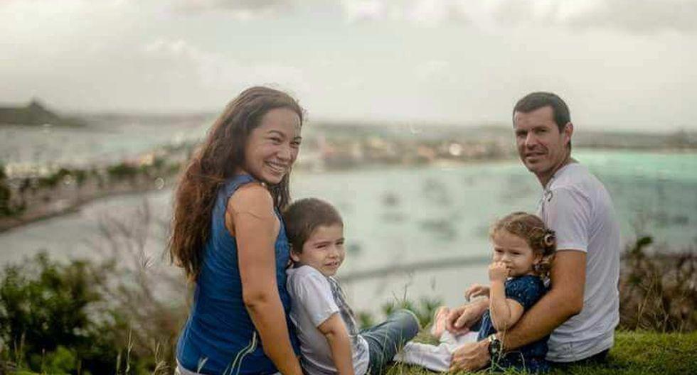 La peruana Lesly Sánchez y el francés Fred Henry tienen dos hijos y viven en San Martín, la isla caribeña que quedó destrozada por el huracán Irma. (Archivo familiar)