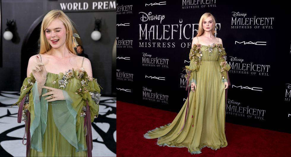 Asimismo, para la premiere en Los Ángeles, llevó un vestido de Gucci inspirado en Aurora, en tonalidades verde, púrpura y celeste; con un detalle bordado en forma de gotas de sangre, que iba desde el dedo índice hasta el final del vestido. (Fotos: AFP)