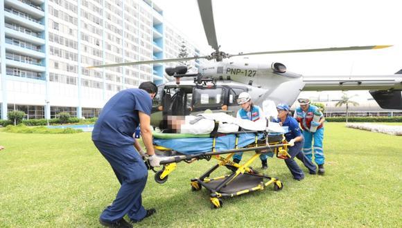 Algunos de los heridos más graves fueron trasladados en helicóptero desde Villa El Salvador hacia los hospitales Hipólito Unanue y Almenara para recibir atención especializada. (Foto: Essalud)