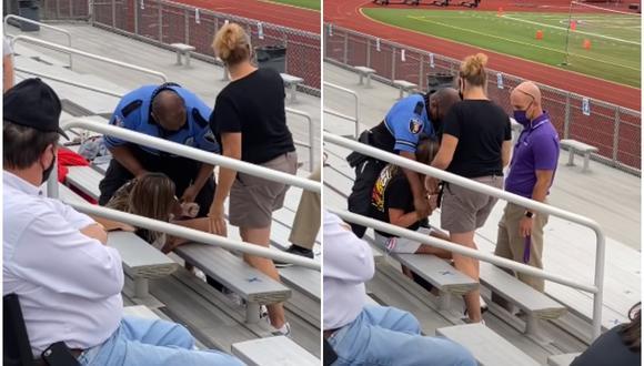 Una mujer de Ohio, en Estados Unidos, fue electrocutada y detenida por negarse a abandonar un partido de fútbol escolar. La escena se volvió viral en las redes sociales. (Foto: The Timmyz / YouTube)