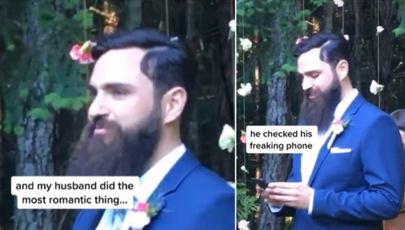 El momento en que un novio mira su celular mientras su pareja camina hacia el altar. (Foto: @taylortoks / TikTok)