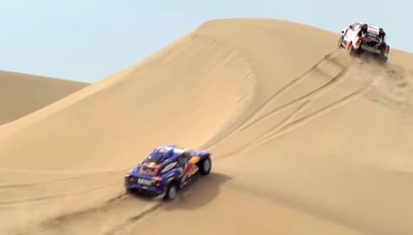 El Dakar 2019 nos regala imágenes como esta impresionante competencia entre Nasser y Sainz. (Foto: Dakar).