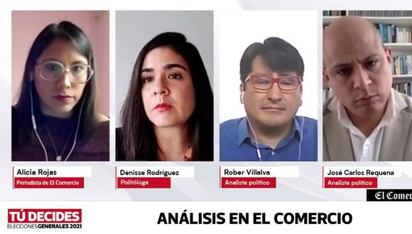 En la mesa de análisis participaron los analistas políticos José Carlos Requena y Rober Villava; y la politóloga Denisse Rodríguez. (Imagen: El Comercio)