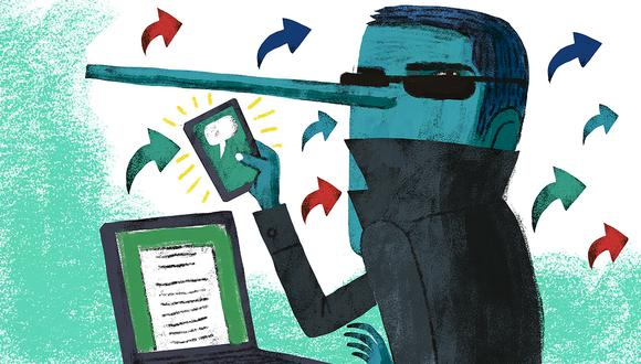 """""""Como método, desinformar es manipular, y uno de sus fines es generar antítesis, enfrentamiento, duda, desconcierto"""". (Ilustración: Víctor Aguilar)"""