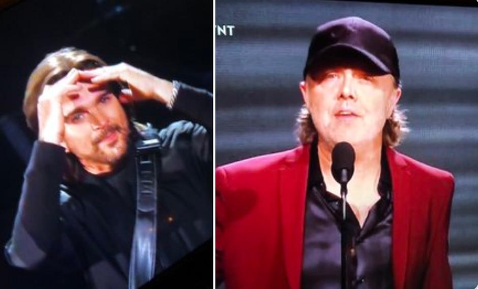 El emblemático baterista de Metallica apareció en el escenario para premiar al colombiano. (Captura de pantalla)