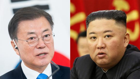 El presidente de Corea del Sur, Moon Jae-in y el líder norcoreano Kim Jong-un. (Foto: Archivo/ GEORG HOCHMUTH / APA / AFP / KCNA VIA KNS).