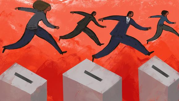 De los 11 candidatos evaluados en el estudio, seis están en el promedio considerado de centroderecha, tres de centro, uno de centroizquierda y uno de izquierda. (Ilustración: GEC)
