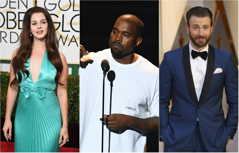 Lana del Rey, Kanye West y Chris Evans (Foto: Agencias)