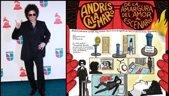 """Andrés Calamaro cumple 58 y lo celebramos con el cómic """"De la amargura del amor al escenario"""". Guion: Aarón Ormeño Hurtado / Dibujos: Víctor Aguilar Rúa   Foto de la nota: AFP"""