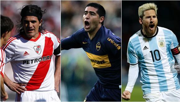 Ariel Ortega, Juan Román Riquelme y Lionel Messi. (Fotos: Agencias)