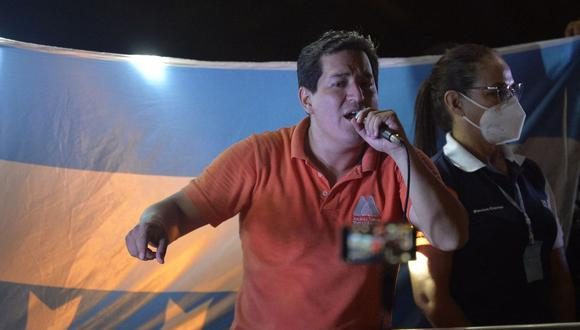 Andres Arauz cerró su campaña en Guayaquil de cara a las elecciones del 11 de abril en Ecuador. (Foto: RODRIGO BUENDIA / AFP).