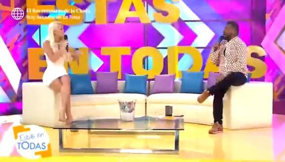 """Sheyla Rojas y 'Choca' Mandros regresaron al set de """"Estás en todas"""". (Foto: Captura)"""