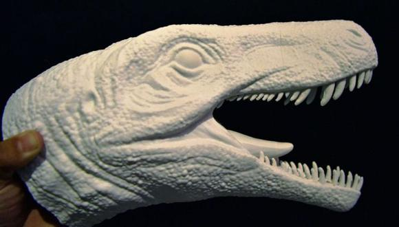 Este molde de silicona muestra como sería la cabeza del Gnathovorax Cabreirai. (Foto: AFP)