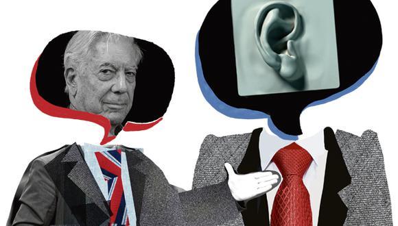 """""""Vargas Llosa ha ido trascendiendo sus éxitos en la literatura para convertirse, según una encuesta de Ipsos-El Comercio, en el pensador más importante en la historia del Perú"""". (Ilustración: Giovanni Tazza)"""