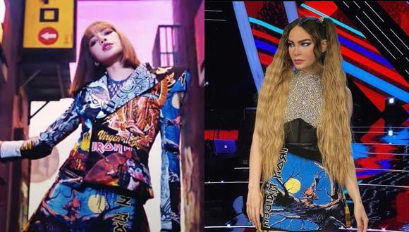"""Usuarios de Twitter notaron que Lisa de BLACKPINK usó falda que Belinda ya había estrenado en """"La Voz México"""". (Foto: Captura YouTube/@belindapop)."""