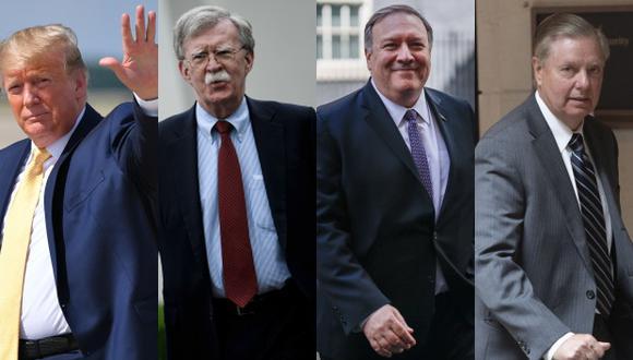 """Donald Trump, presidente de Estados Unidos, y sus """"halcones"""" que lo respaldan contra Irán: John Bolton, MikePompeo y Lindsey Graham. (Foto: AFP)"""