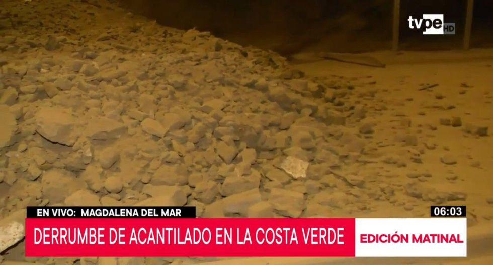 Deslizamiento interrumpe el tránsito en la zona de Magdalena. No se han reportado heridos en la Costa Verde. (Captura de pantalla)