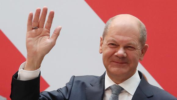 El candidato del Partido Socialdemócrata Alemán (SPD) Olaf Scholz reacciona tras las elecciones generales de Alemania, el 27 de septiembre de 2021. (EFE / EPA / FOCKE STRANGMANN).