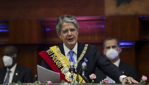 El presidente de Ecuador, Guillermo Lasso, pronuncia un discurso durante su toma de posesión en la Asamblea Nacional en Quito, el 24 de mayo de 2021. (Foto por - / Asamblea Nacional de Ecuador / AFP).