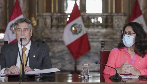 El presidente de la República, Francisco Sagasti en conferencia de prensa desde Palacio de Gobierno. Foto: Andina