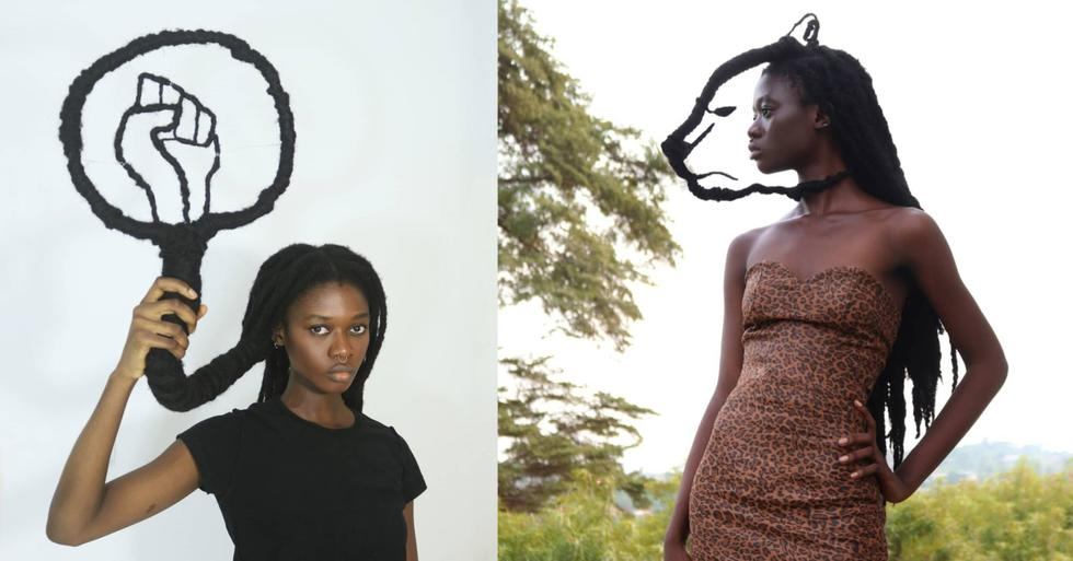 Laetitia Ky es una artista feminista proveniente de Costa de Marfil, que se ha vuelto popular luego de transmitir poderosos mensajes mediante esculturas elaboradas con su propio cabello. (Fotos: IG/ @laetitiaky)