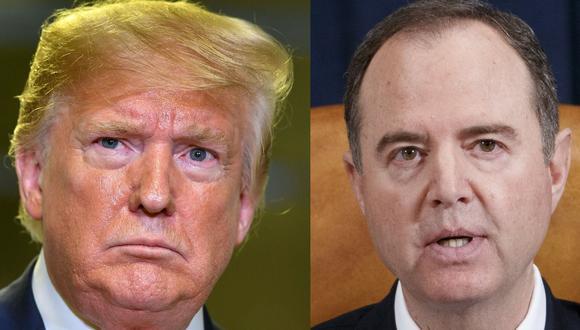 El presidente de Estados Unidos, Donald Trump, y el congresista que lo investigó Adam Schiff. (AFP / AP).