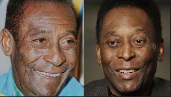 Pelé con 20 años y 73 años. (Foto: FaceApp/AP)
