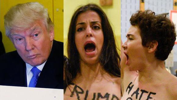 Irrumpieron casi desnudas en local de votación de Trump [VIDEO]