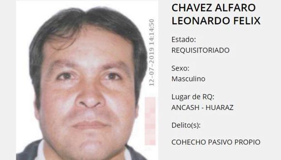 En mayo del 2017 la Corte de Áncash dictó nueve meses de prisión preventiva contra Chávez Alfaro por presuntamente haber recibido un soborno de S/ 5.000 para favorecer a un empresario (Foto: PNP)